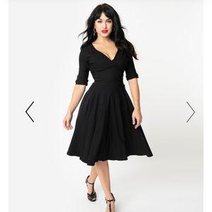 Unique Vintage 1950s Black Delores Swing Dress